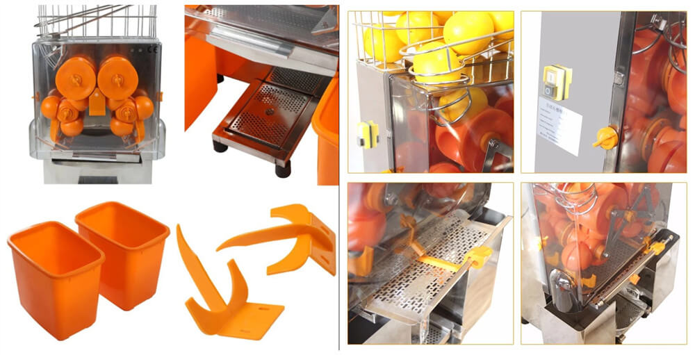 Commercial automatic fruit orange juicer machine details show