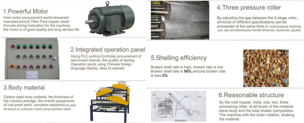 almond shelling machine features show