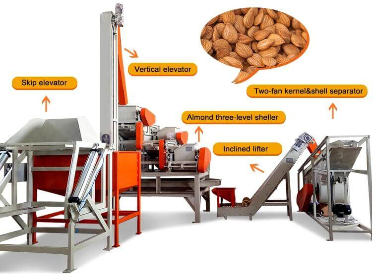 automatic almond shelling separating line