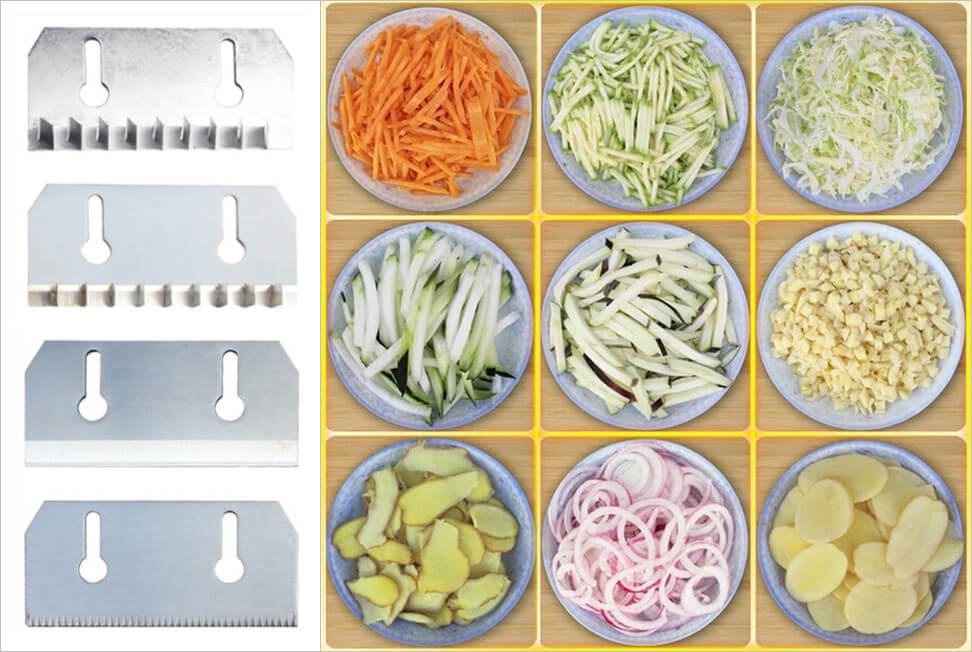 balds and vegetable cut by the directional vegetable cutting machine