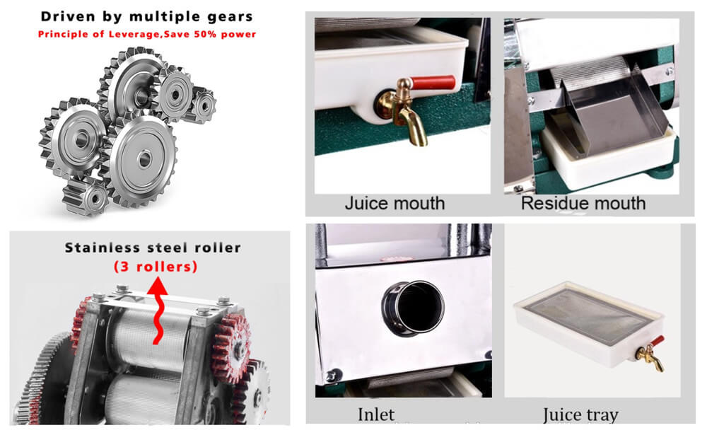 details show of manual sugarcane juicer