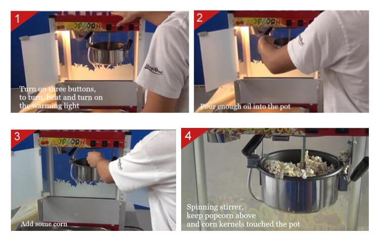 how to operate popcorn maker