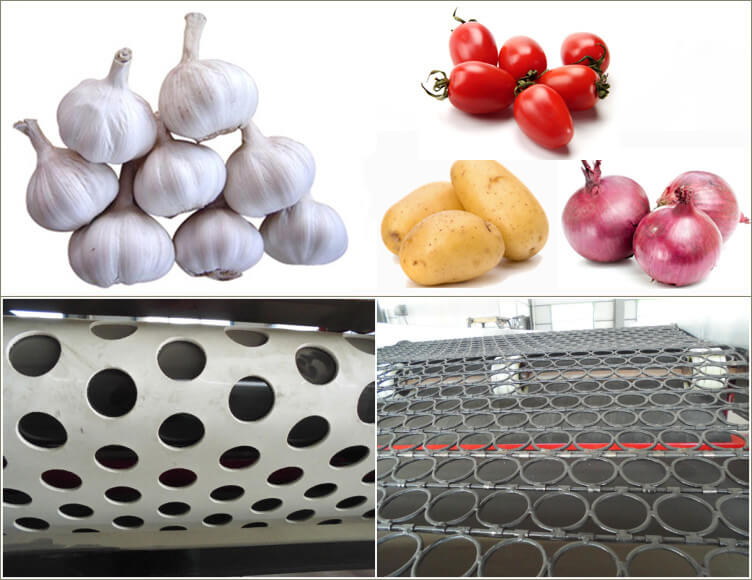 mesh, sorting holes of commercial garlic grading machine