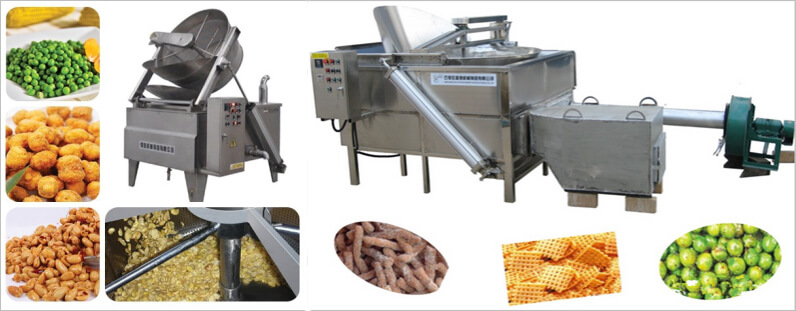 nut frying machine application for frying peanut, beans, etc
