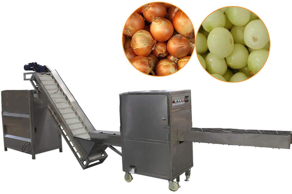 onion roots cutting peeling machine unit